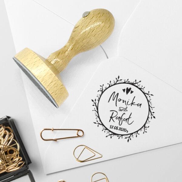 pieczątka ślubna dla pary młodej na zaproszenia z datą