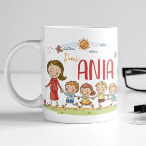 kubek dla nauczycielki przedszkolanki z imieniem i dedykacją od uczniow