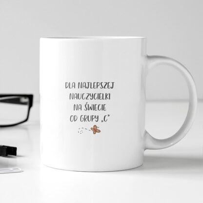 kubek dla nauczycielki przedszkolanki z imieniem i dedykacją od uczniow-1