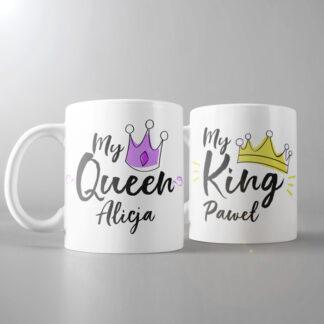 kubki dla pary personalizowane king & queen z imionami