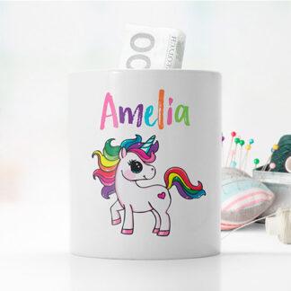 personalizowana skarbonka z jednorożcem dla dziewczynki