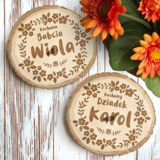 drewniane podstawki pod kubek krążki personalizowany prezent na dzień babci i dziadka