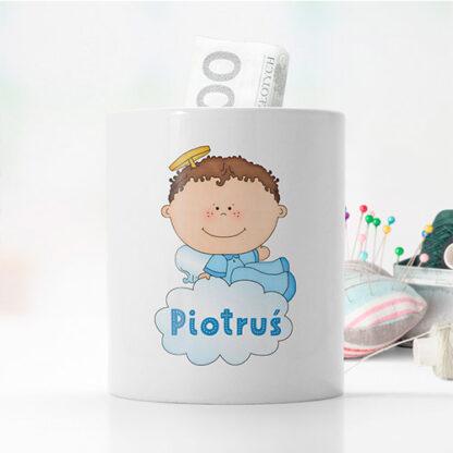 personalizowana skarbonka z aniołkiem dla chłopca prezent na komunie