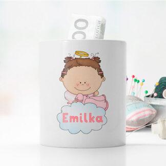 personalizowana skarbonka z aniołkiem dla dziewczynki prezent na komunie