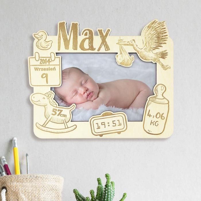 ramka metryczka z personalizowanym grawerem prezent na narodziny dziecka