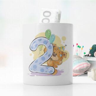 skarbonka z misiem dla dziecka prezent na urodziny z dedykacją