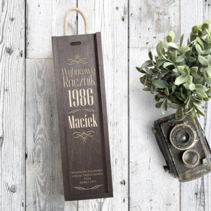skrzynka na wino wyborowy rocznik grawerowany prezent dla niego na urodziny