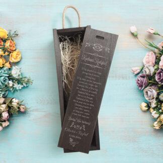 skrzynka na wino z grawerowanym podziękowaniem dla rodziców prezent od nowożeńców na ślub wesele