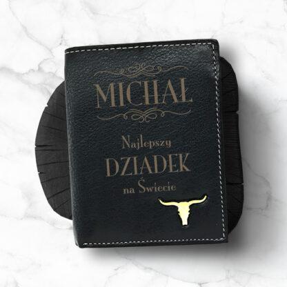 skórzany portfel z grawerem dla dziadka taty wójka brata personalizowany prezent dla niego na dzień dziadka